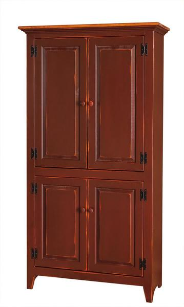 Amish Pine 4-Door Pantry Cupboard