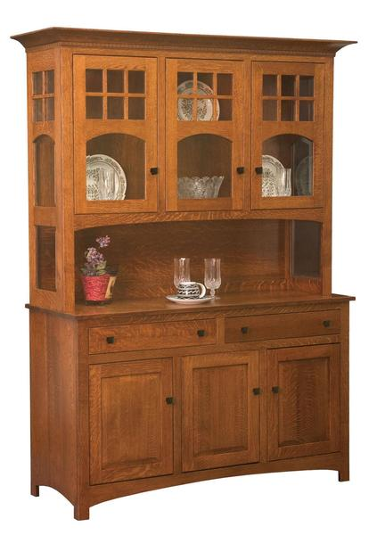 Amish Tribecca Mission Hutch with Three Doors and Two Drawers in the Base and Three Glass Doors in the Hutch Top