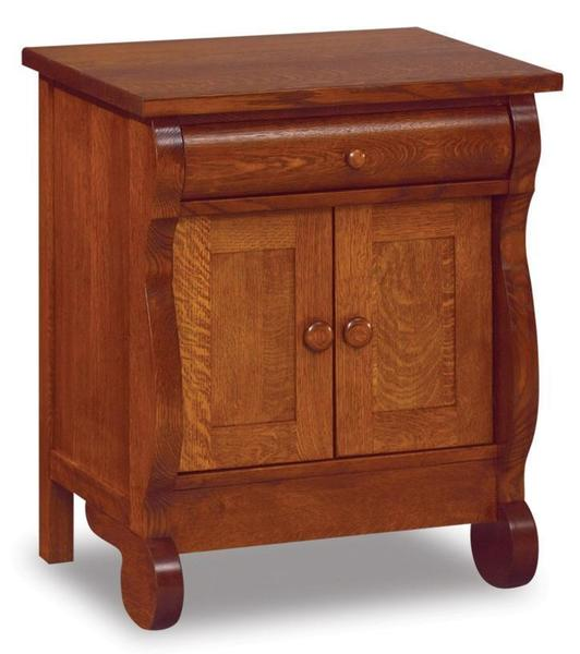 Amish Old Classic Sleigh Large One Drawer and Two Door Nightstand