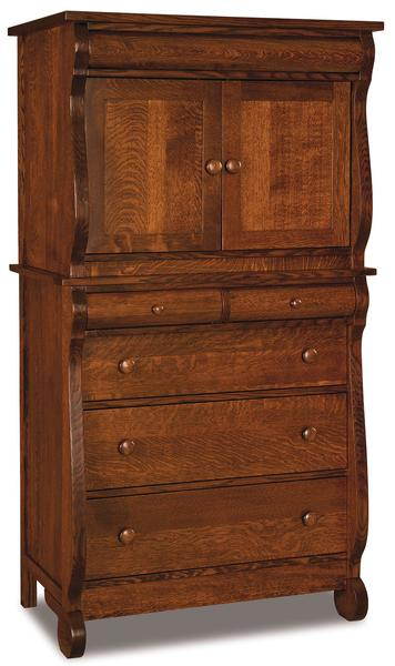 Amish Old Classic Sleigh Chest Armoire