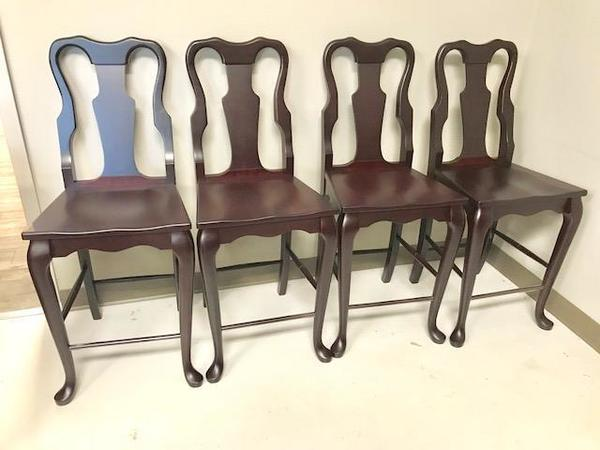 In Stock Set of Four Cherry Jackson Counter Bar Chairs
