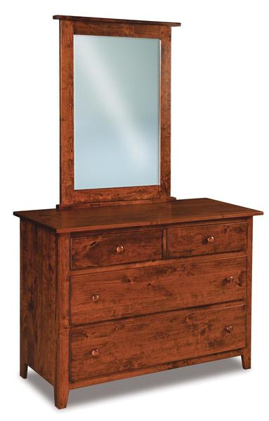 Amish Shaker Four Drawer Dresser with Optional Mirror