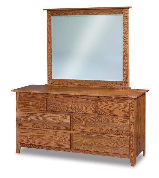 Amish Shaker Seven Drawer Dresser with Arch Drawer and Two Jewelry Drawers