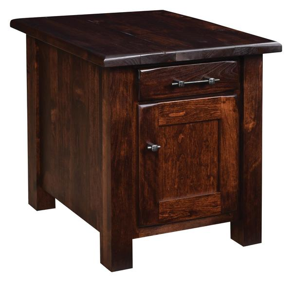 Amish Barn Floor End Table with One Door