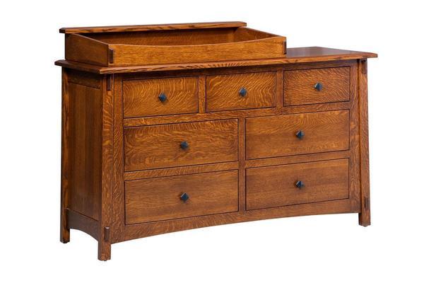 Amish San Marino Seven Drawer Changing Dresser