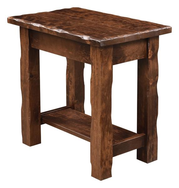 Amish Hand Hewn Chair Side Table