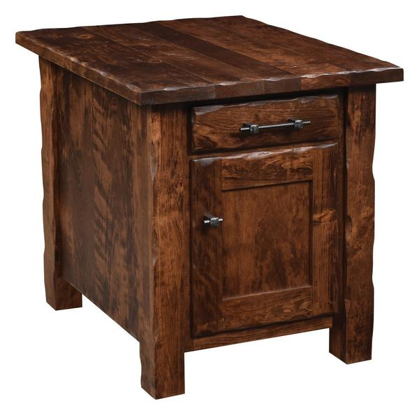 Amish Hand Hewn End Table with One Door