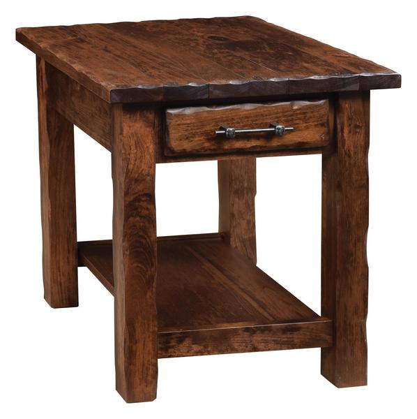 Amish Hand Hewn End Table with One Shelf