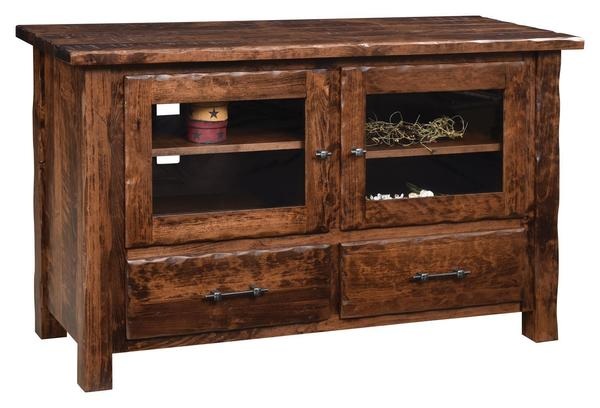 Amish Hand Hewn Flat Wall TV Stand