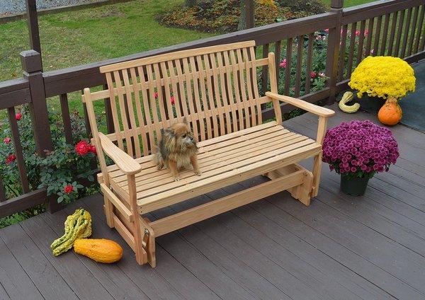 Amish Bent Oak Wood Glider Bench