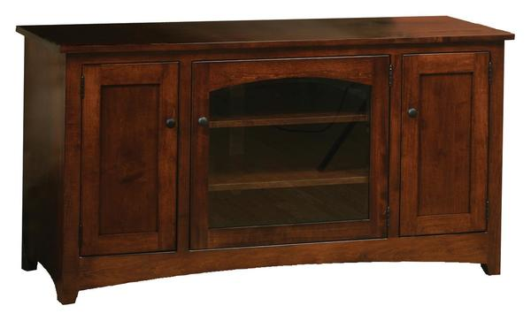 Amish Modern Shaker Flat Wall TV Stand on Casters