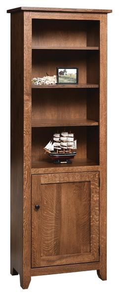 """Amish 24"""" Modern Mission Bookcase with Optional Doors"""