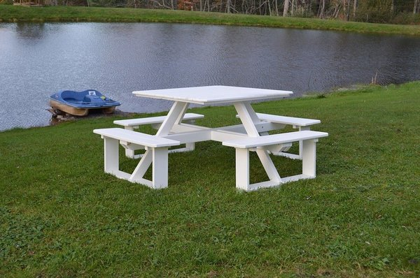 "Amish Poly 44"" Square Walk-In Picnic Table"