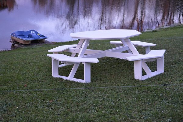"""Amish Poly 54"""" Octagon Picnic Table"""