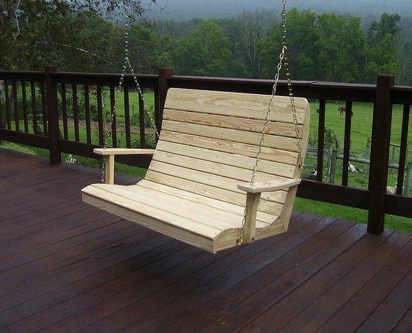 Amish Pine Wood Outdoor Highback Swing