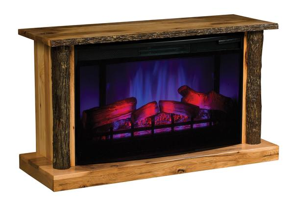 Amish TV Stand LED Electric Fireplace with Remote - Hickory