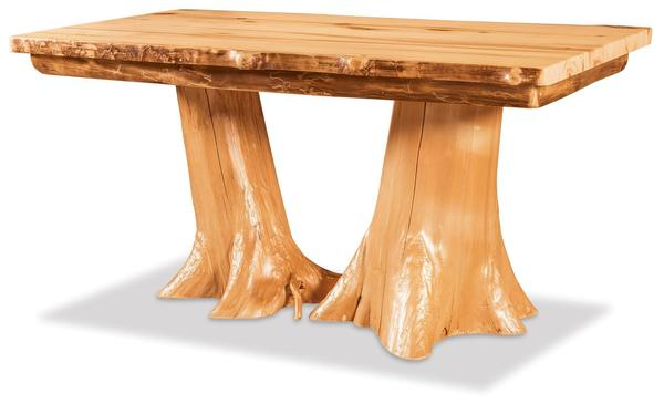 Amish Rustic Double Stump Dining Table