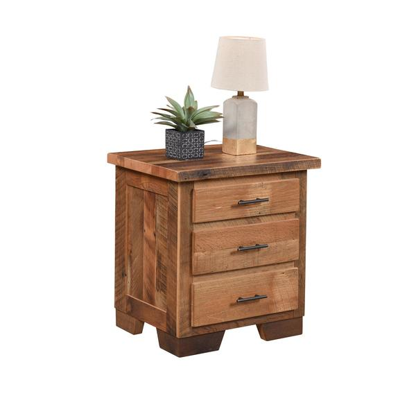 Amish Reclaimed Wood Chevron 3-Drawer Nightstand