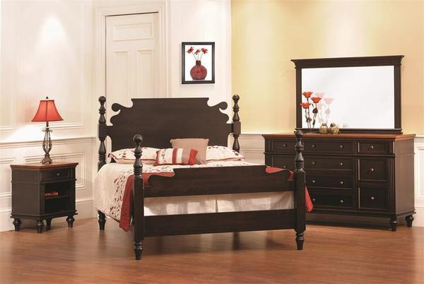 Amish Hampton Three Piece Bedroom Set in Brown Maple and Rustic Cherry