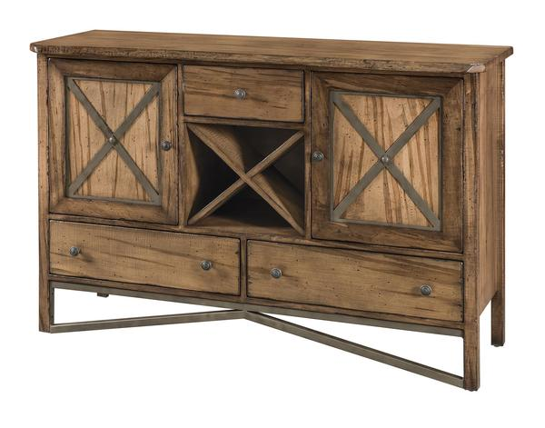 Amish Yukon Bar and Wine Cabinet with Two Doors and Three Drawers and a Center Wine Rack