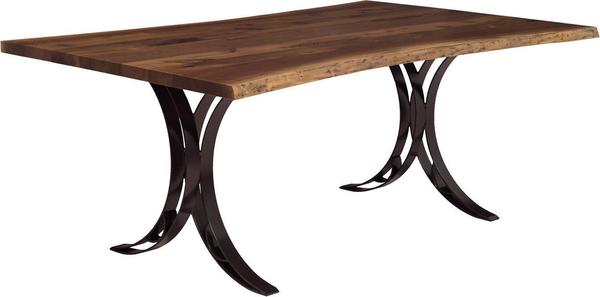 Amish Live Edge QuickShip Dining Table with Double Curved Base