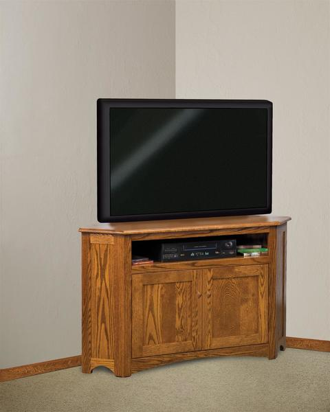 Amish Solid Wood Mission Corner TV Stand with Two Doors
