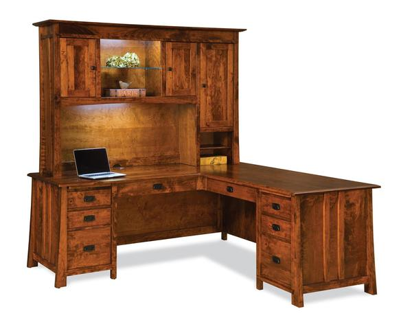 Amish Grant L Desk with Optional Hutch Top
