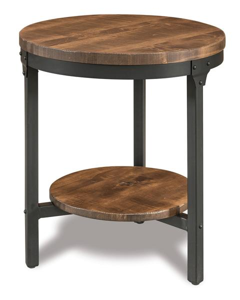 "Amish Houston 22"" Round End Table with Shelf"