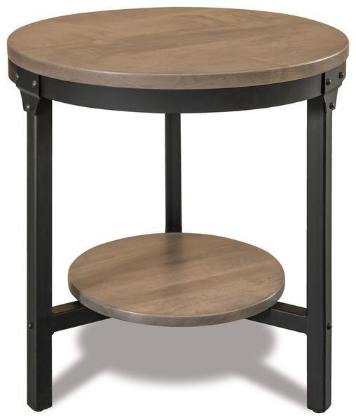 """Amish Ironwood 22"""" Round End Table with Shelf"""