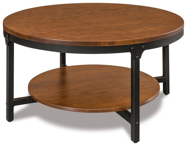 """Amish Ironwood 38"""" Round Solid Top Coffee Table with Shelf"""