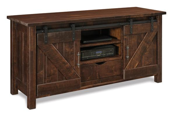 Amish Houston LCD Stand with Two Doors and One Drawer