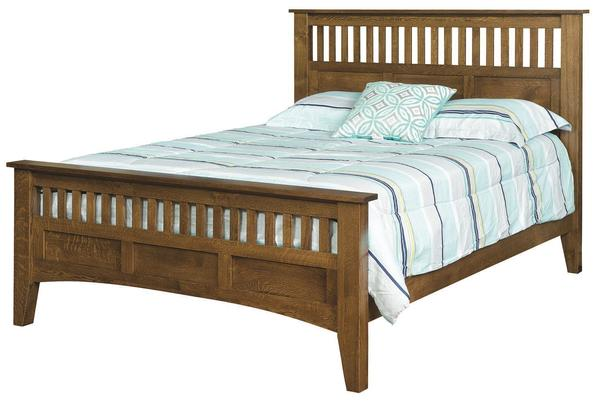 Quick Ship Amish Siesta Mission Bed in Oak Wood