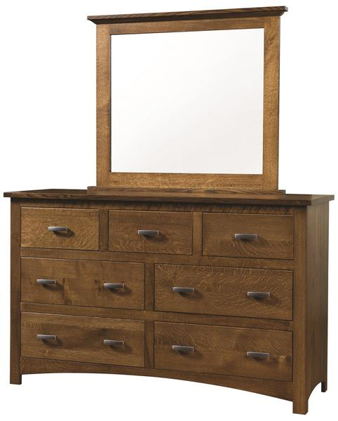 Quick Ship Amish Siesta Mission Dresser with Optional Mirror in Oak Wood