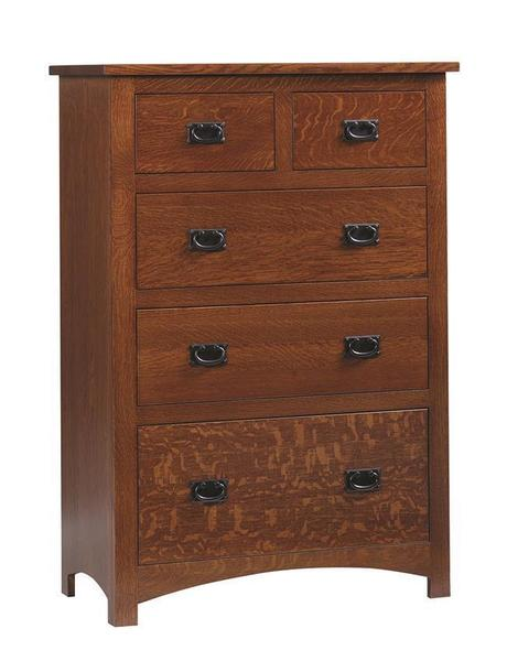 Quick Ship Amish Siesta Mission Chest of Drawers in Oak Wood