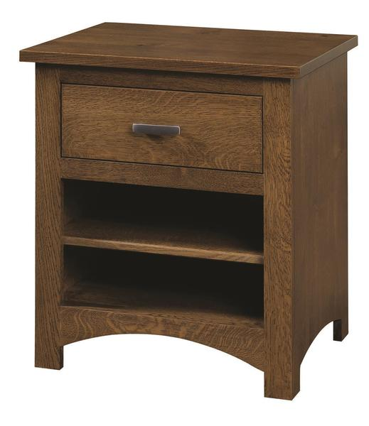 Quick Ship Amish Siesta Mission Nightstand in Oak Wood