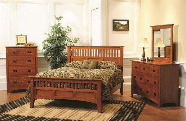 Quick Ship Amish Siesta Mission Bedroom Three Piece Set in Oak Wood
