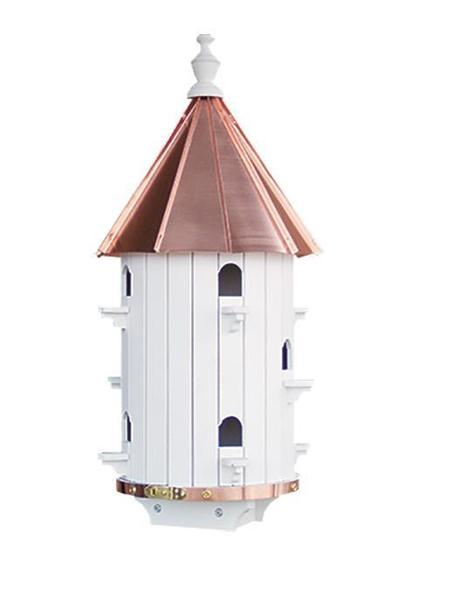 Amish Copper Roof Ten Hole White Painted Pine Wood Birdhouse