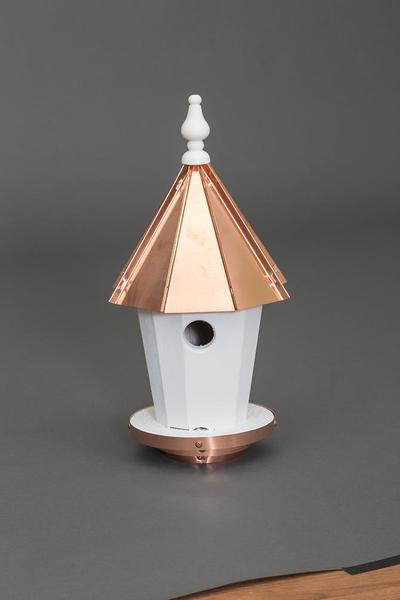 Amish Copper Roof Round Blue Birdhouse