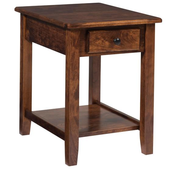 Amish Amazon Chairside End Table with Drawer