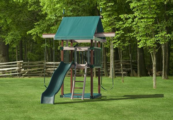 Play Mor Fun Space Saver Poly Swing Set