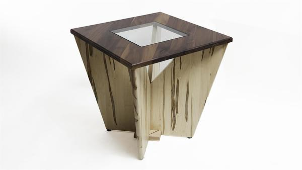Amish Solitaire Glass Top End Table