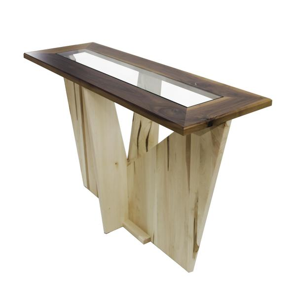Amish Solitaire Glass Top Sofa Table
