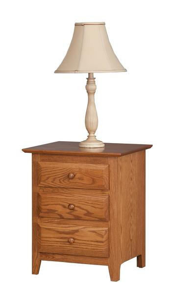 Amish Nebo Shaker Three Drawer Nightstand