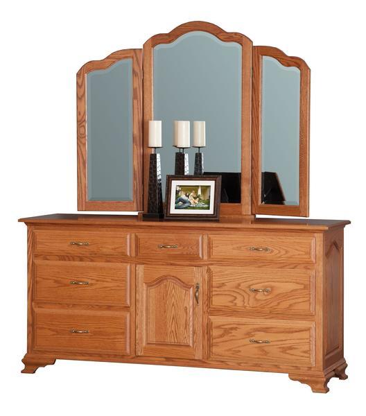 "Amish Crown Villa 72"" Dresser with Optional Tri-View Mirror"