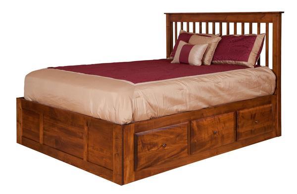 Amish English Shaker Spindle Storage Bed