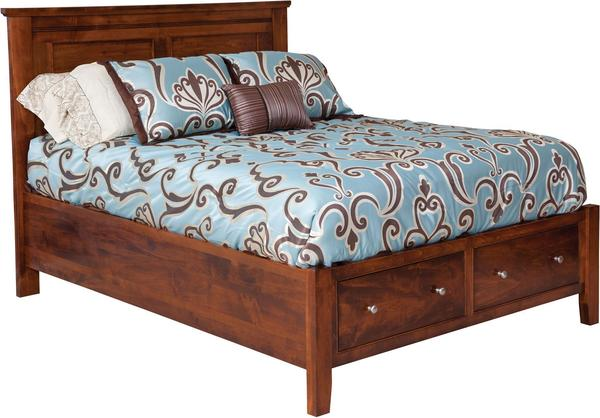 Amish Hyland Park Bed with Footboard Drawers