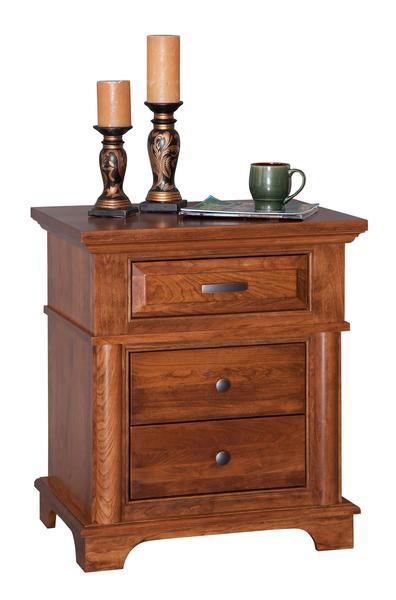 Amish Sycamore Three Drawer Nightstand