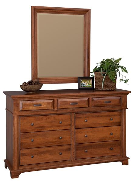 "Amish Sycamore 66"" Dresser with Optional Mirror"
