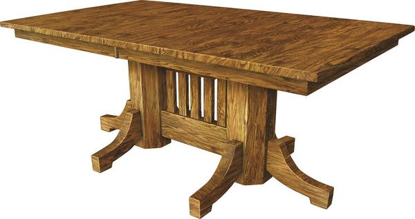 Amish Mission Extendable Double Pedestal Dining Table
