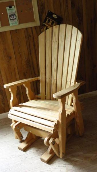 Amish Pine Wood Fan Back Glider